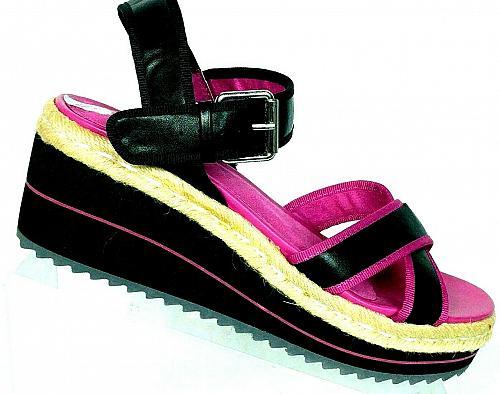 NWT Skechers Womens Cali Black Pink Memory Foam Wedge Sandals Size 9 M