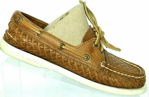 Sperry Top Sider Womens Brown Leather Woven Lace Up Boat Deck Shoes 5.5 M