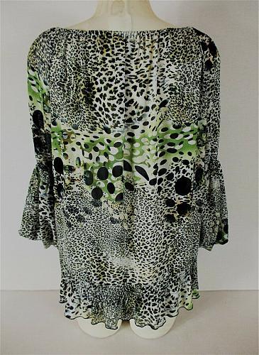 DRESSBARN womens Large 3/4 sleeve black green ANIMAL PRINT elastic hem top (A)