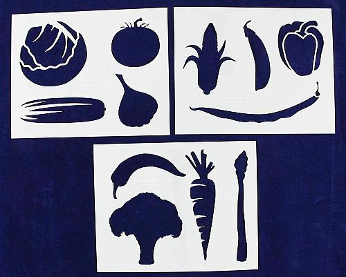 Vegetable Stencils- 3 Piece Set -14 Mil Mylar