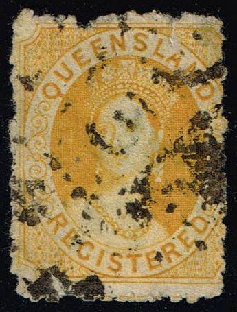 Australia-Queensland #F3 Queen Victoria; Used (50.00) (1Stars)  QUEF3-02