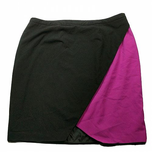 Cato Womens A Line Pleated Skirt Size 22W Pink Black Side Zip Lined