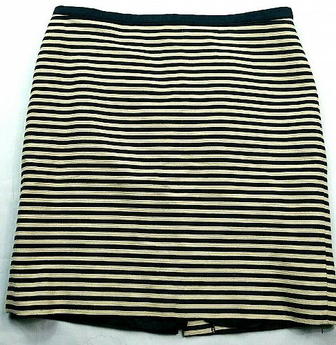 Loft Womens A Line Skirt Size 12 Beige Blue Striped Line Back Zip
