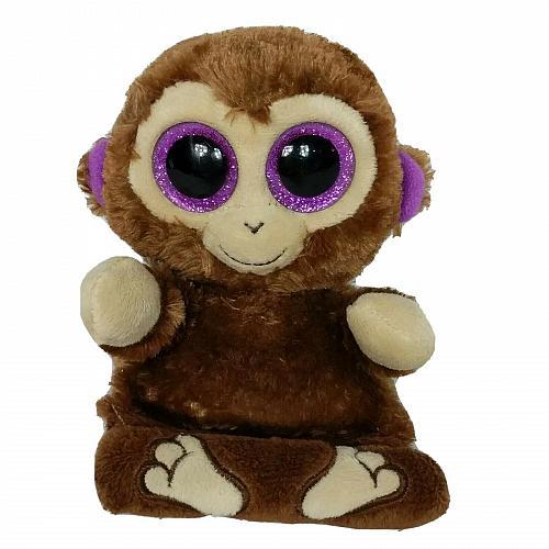 "Ty Beanie Boo Chimps Cell Phone Holder Glitter Eyes Brown Monkey Plush 2015 4.5"""