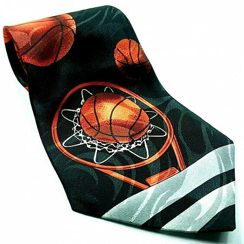 Basketballs Basketball Hoop Sports Print Novelty Tie