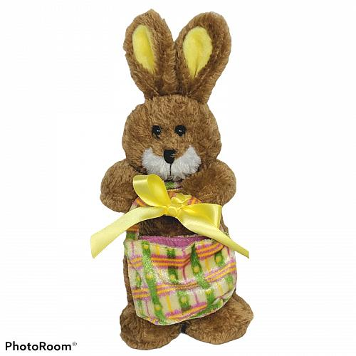 "Vtg GAC Brown Easter Bunny Rabbit Basket Spring Plush Stuffed Animal 1999 10"""
