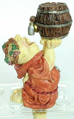 Vtg Monk Drinking From Barrel Keg Wine Grapes Man Cave Wine Stopper 5.5""