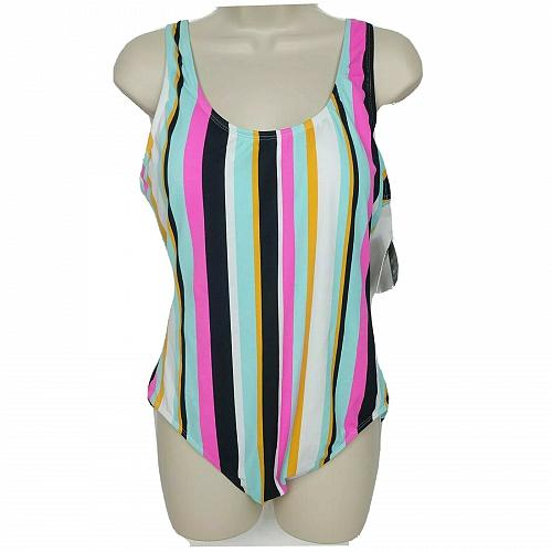 NWT Hula Honey One Piece Swimsuit XL Multicolor Striped Padded