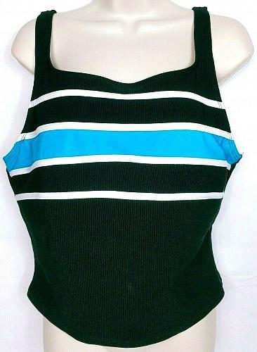 Longitude Women's Tankini Top Swimsuit Size 16 Black Blue White Stripes