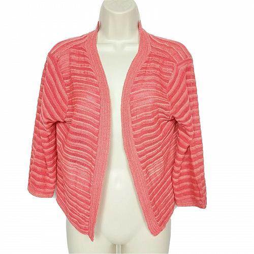 Christopher & Banks Petite Womens Cardigan Sweater Size PL Orange Striped
