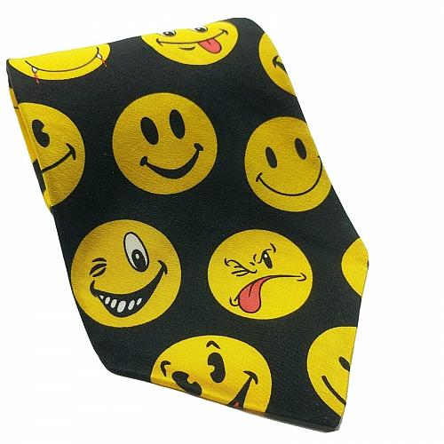 Vintage Ralph Marlin Smiley Faces Funny Silly Emoji Novelty Silk Necktie