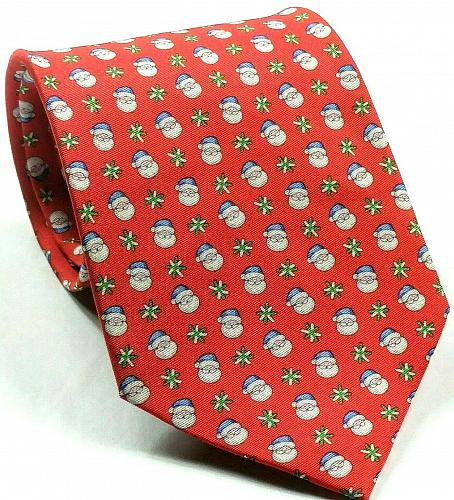 Jos A Bank The Miracle Collection Santa Claus Red Christmas Novelty Silk Tie