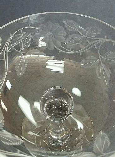 Wheel engraved glass compote floral