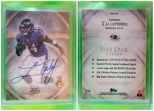 NFL Lorenzo Taliaferro Baltimore Ravens Autographed 2014 Topps Five Star RC Mnt