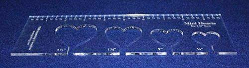 """4 Mini Hearts Template for 1/2"""" Foot - Clear with Ruler 1/8"""" Thick"""