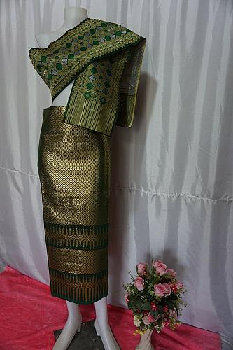 Pine Green Thai Lanna Synthetic Silk sinh Skirt Pha Bieng Tailor to your size