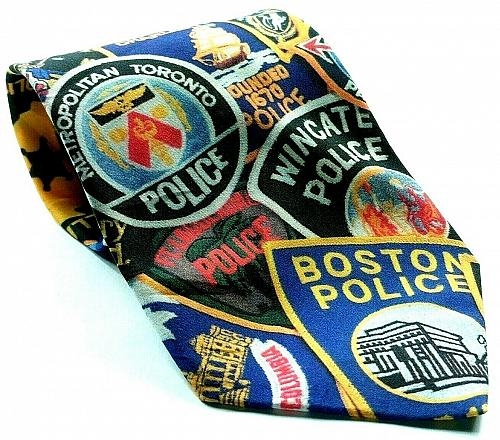 Vintage Ralph Marlin Police Officer Patches Highway State Patrol Novelty Tie