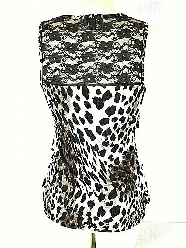 IZ BYER womens Small brown white ANIMAL print BLACK LACE accents TIERED tank (J)