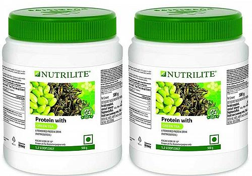 2 Peice AMWAY NUTRILITE PROTEIN WITH GREEN TEA 500 Gram EMS Service