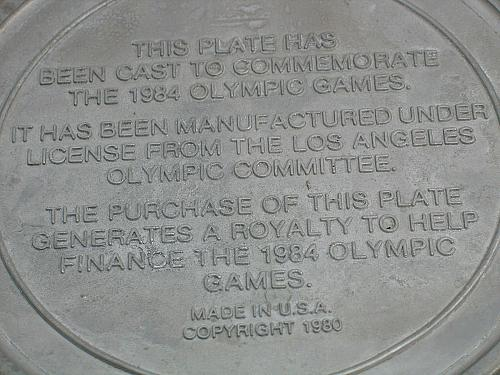 Vintage Olympic Dinner Pewter Plate Games of the 23rd Olympiad Los Angeles 1984