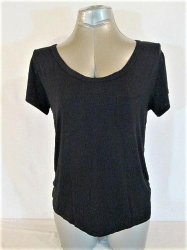 ONE CLOTHING womens Large S/S BLACK FRONT STRIPED BACK STRETCH TOP (K)
