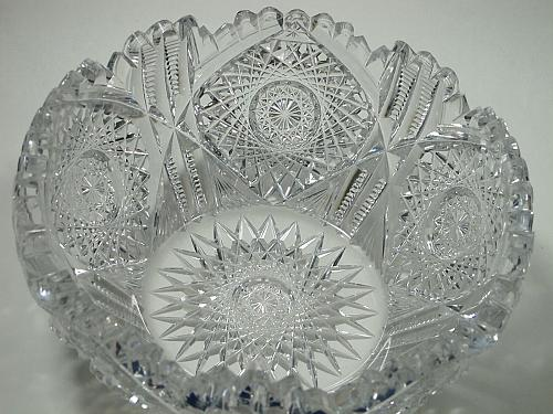 "American Brilliant Period hand Cut Glass bowl 7.75"""