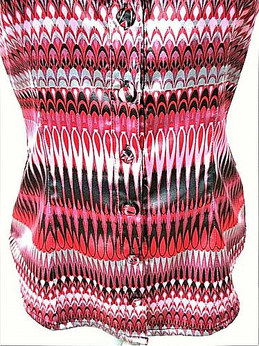 BISOU BISOU womens Small sleeveless red black pink RUFFLE button down top (C3)