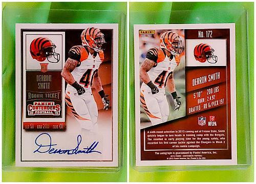NFL Darian Smith Cincinnati Bengals Autographed 2015 Panini Rookie Ticket Mint