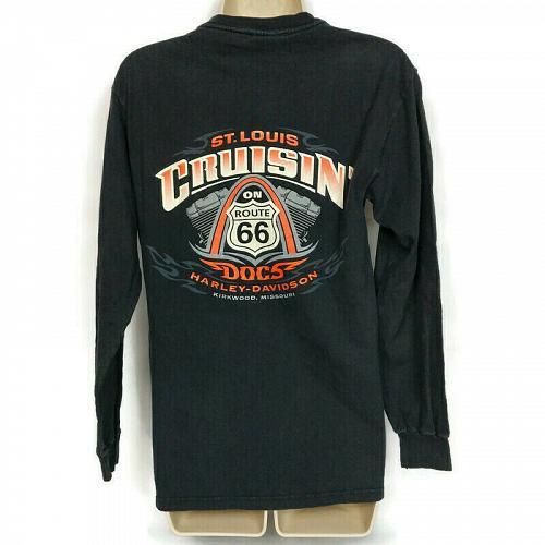 Harley Davidson Cruisin St Louis Doc's Route 66 T-Shirt Black Small Long Sleeve