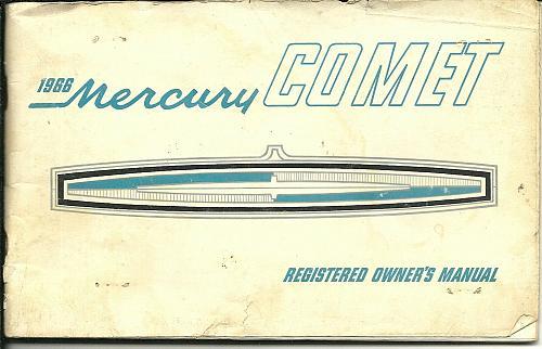 1966 Mercury Comet Original Owners Manual Canadian Classic Car