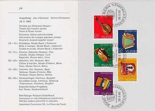 SCHWEIZ SWITZERLAND [1985] MiNr 1296-00 ( FDC ) [01] Pro Patria PTT Faltblatt 216