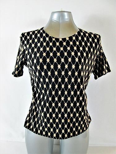 NICOLA womens Large S/S BLACK GOLD EMBROIDERED STRETCH TOP BLOUSE (P)P