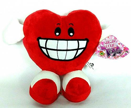 "NWT Valentine Red Heart Smiling Grinning Teeth Plush Stuffed Animal 2013 10"""
