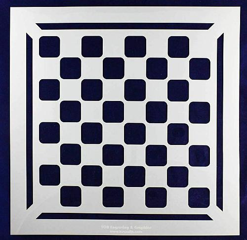 """Chess/Checkerboard Stencil w/Border 14 Mil -15"""" X 15"""" - Painting /Crafts/ Templa"""