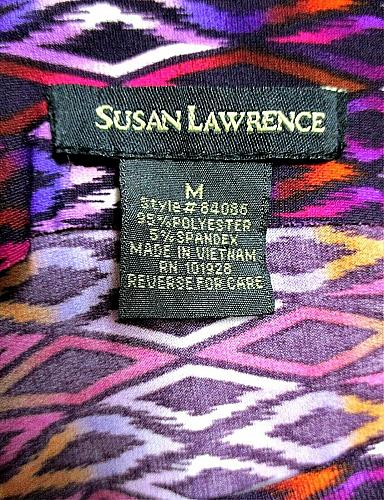 SUSAN LAWRENCE womens Medium S/S purple white COLD shoulder STRETCH top (J)