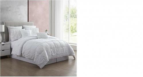 New Queen White Luxury Style 7 Piece Bedding Comforter Set Shams Pillows Decor