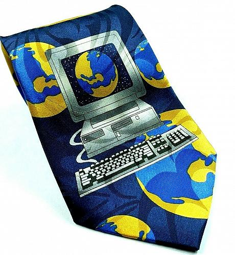 Computer World Globe Internet Monitor Keyboard Nerd Geek Novelty Tie
