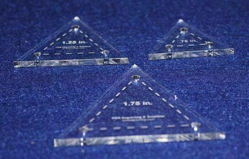 Quilt Templates- 3 Piece Set Half Sizes .75, 1.25, 1.75- Equilateral Triangles A