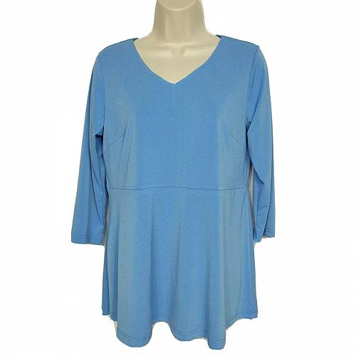 Linea By Louis Dell 'Olio Crepe Top Size XS Blue Peplum Detail 3/4 Sleeve