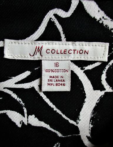 JM COLLECTION womens Sz 16 L/S black white 2 POCKET button down jacket (A4)