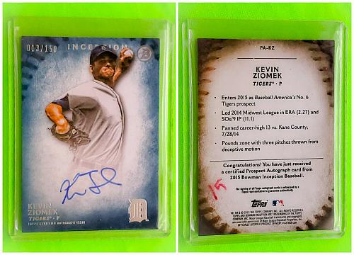 MLB KEVIN ZIOMEK DETROIT TIGERS AUTOGRAPHED 2015 TOPPS INCEPTION BASEBALL /150