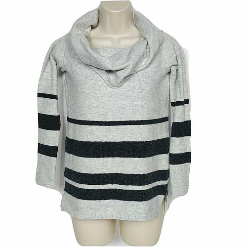 LOFT Womens Petites Cowl Neck Sweater Size XSP Gray Striped Long Sleeve