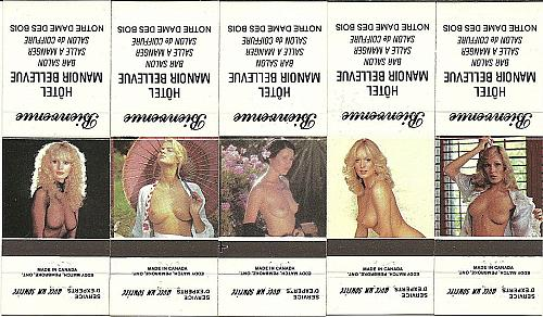 LOT of 5 Nude Pinup Vintage Match Book Covers Hotel Manoir Bellevue Quebec Set