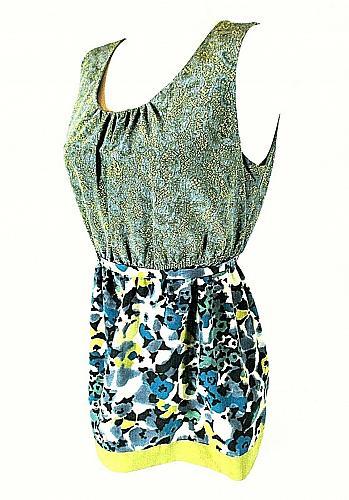 Vera Wang womens Sz 8 green blue yellow floral TIE WAIST tunic top (C3)