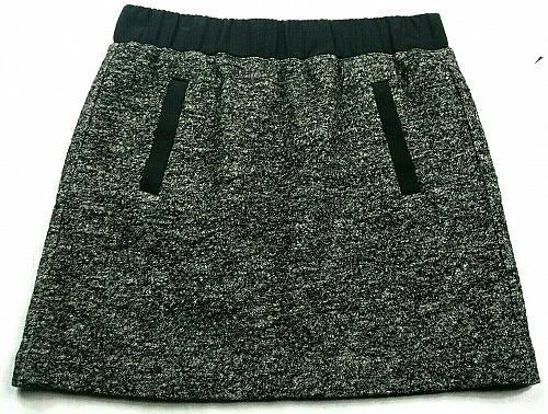 Loft Womens A Line Petite Skirt MP Wool Blend Gray Black White Striped Pull On