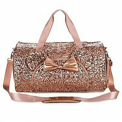 New Disney Parks Loungefly Rose Gold Sequined Minnie Ear Duffel Free Shipping