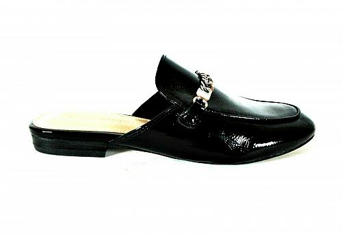 Marc Fisher Whiley Black Patent Slip On Mules Flat Shoes Women's 6 M (SW14)