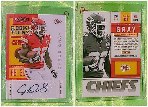 NFL Cyrus Gray Kansas City Chiefs Autographed 2012 Panini Rookie Ticket Mint