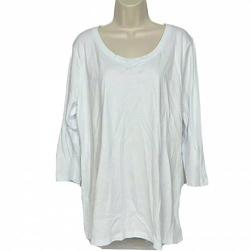 Isaac Mizrahi Live! Essentials Pima Cotton 3/4 Sleeve Top Size XL White