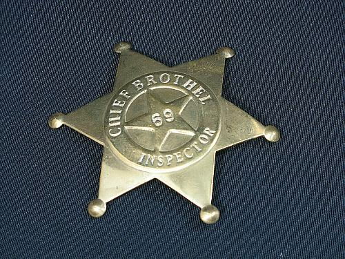 Vintage Chief Brothel Inspector Badge Brass Star Shaped 69 Old West Style